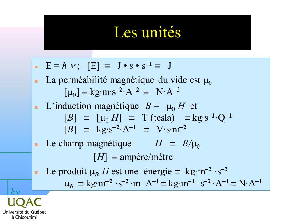 h SymboleUnités C.G.S.Unités SI h6,626 10 27 erg·s6,626 10 34 J·s µBµB 9,2741 10 21 erg/gauss 9,2741 10 24 A·m 2 ou J·T 1 HœrstedA·m 1 s 1 Note : 1 œrsted = 10 3 /4p A·m 1 Les unités et les constantes