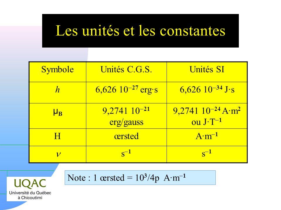 h On peut étudier lenvironnement de la molécule et plus particulièrement lenvironnement du site « magnétique » de la molécule, y inclus la molécule elle-même.
