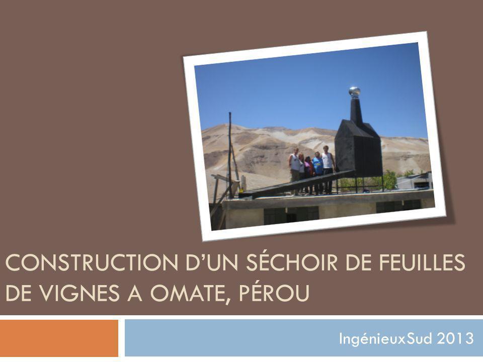 CONSTRUCTION DUN SÉCHOIR DE FEUILLES DE VIGNES A OMATE, PÉROU IngénieuxSud 2013