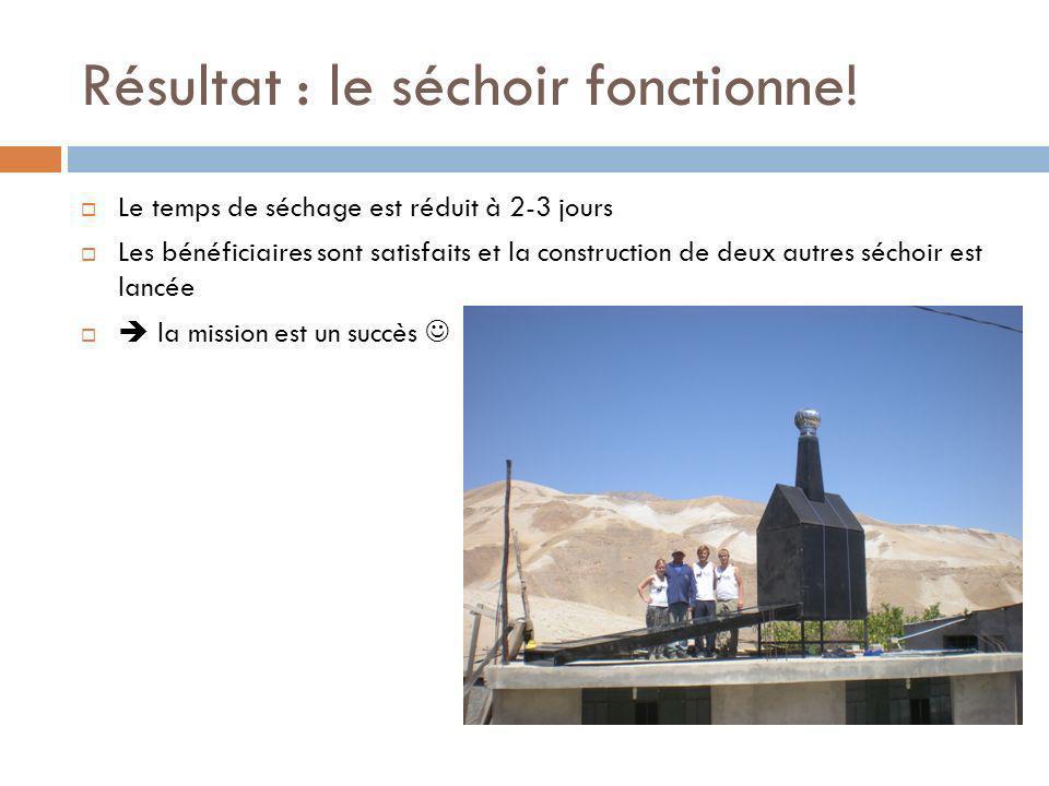 Résultat : le séchoir fonctionne! Le temps de séchage est réduit à 2-3 jours Les bénéficiaires sont satisfaits et la construction de deux autres sécho