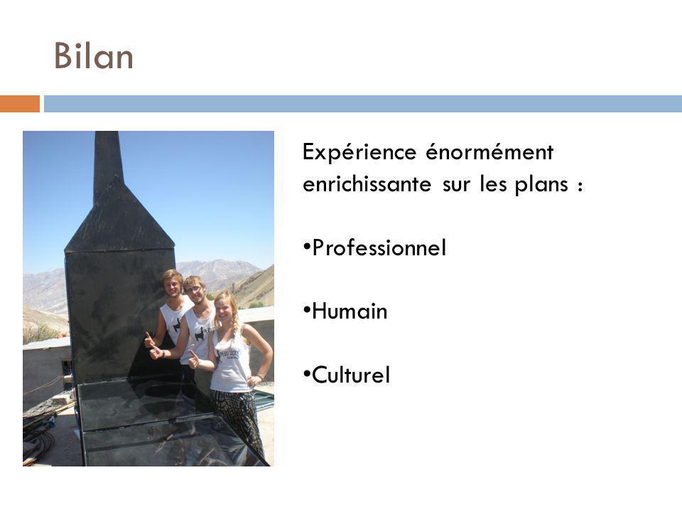 Bilan Expérience énormément enrichissante sur les plans : Professionnel Humain Culturel
