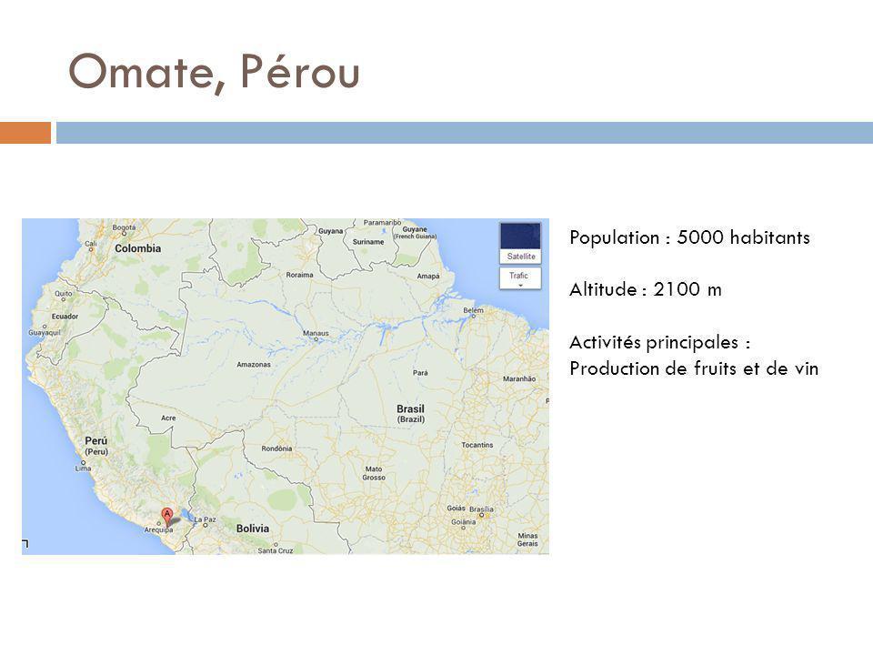 Omate, Pérou Population : 5000 habitants Altitude : 2100 m Activités principales : Production de fruits et de vin