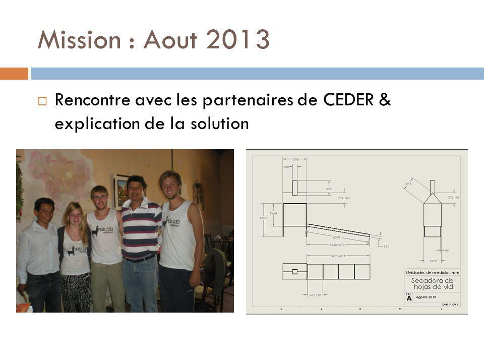 Mission : Aout 2013 Rencontre avec les partenaires de CEDER & explication de la solution