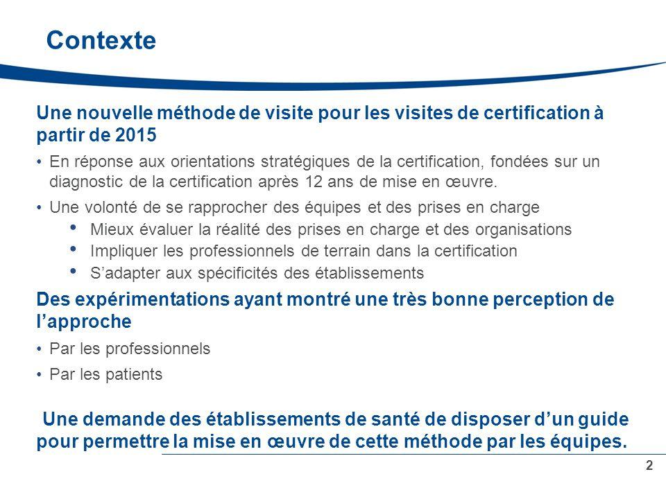 Contexte Une nouvelle méthode de visite pour les visites de certification à partir de 2015 En réponse aux orientations stratégiques de la certification, fondées sur un diagnostic de la certification après 12 ans de mise en œuvre.