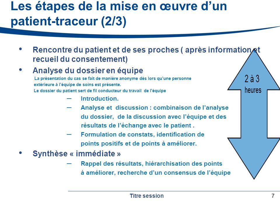 Les étapes de la mise en œuvre dun patient-traceur (3/3) Définition des action damélioration et du plan daction.