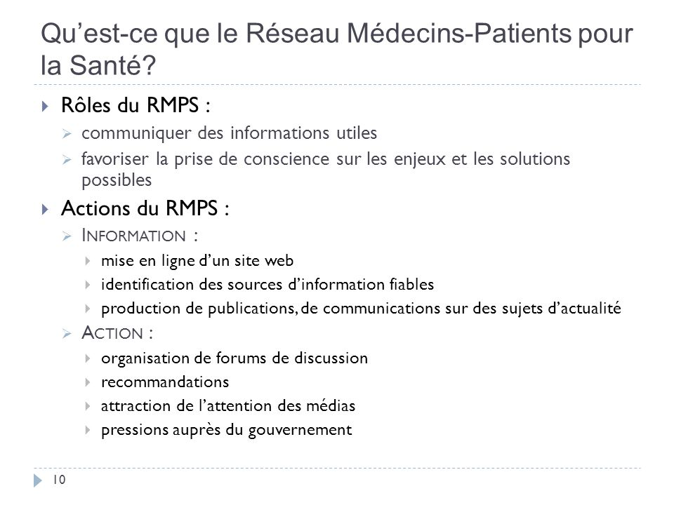 Quest-ce que le Réseau Médecins-Patients pour la Santé.
