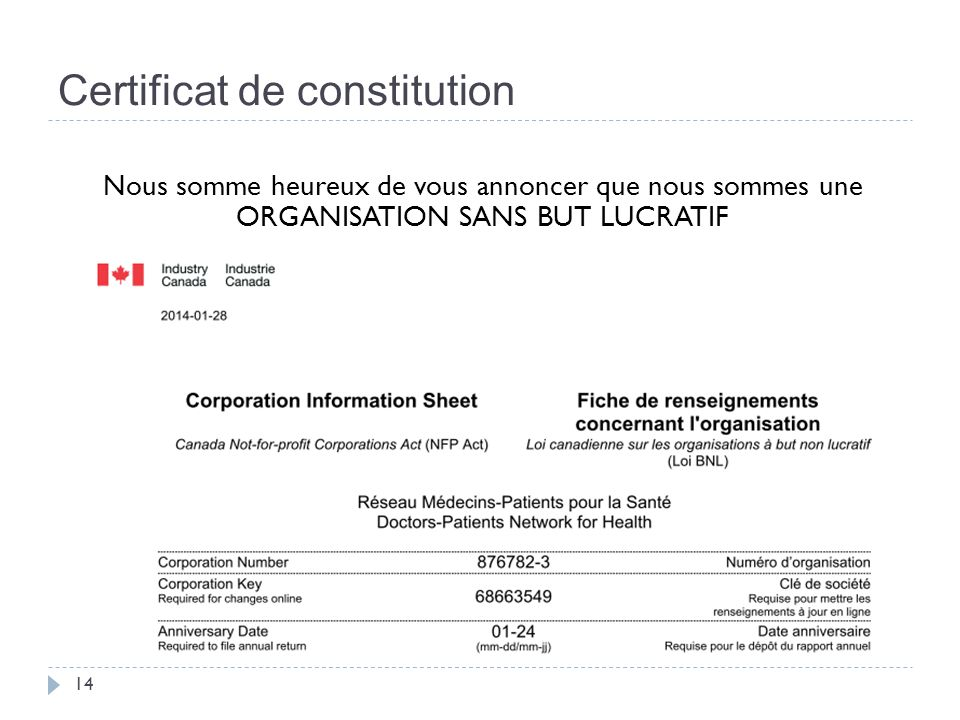 Certificat de constitution 14 Nous somme heureux de vous annoncer que nous sommes une ORGANISATION SANS BUT LUCRATIF