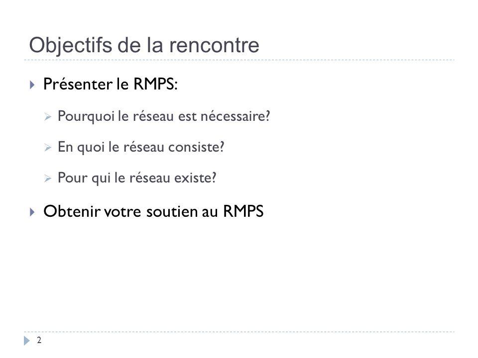 Objectifs de la rencontre 2 Présenter le RMPS: Pourquoi le réseau est nécessaire.