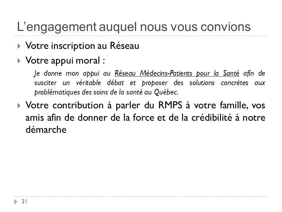 Lengagement auquel nous vous convions 21 Votre inscription au Réseau Votre appui moral : Je donne mon appui au Réseau Médecins-Patients pour la Santé afin de susciter un véritable débat et proposer des solutions concrètes aux problématiques des soins de la santé au Québec.