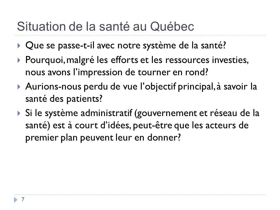 Situation de la santé au Québec 7 Que se passe-t-il avec notre système de la santé.