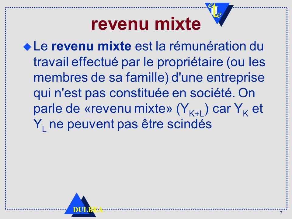 7 DULBEA revenu mixte Le revenu mixte est la rémunération du travail effectué par le propriétaire (ou les membres de sa famille) d une entreprise qui n est pas constituée en société.