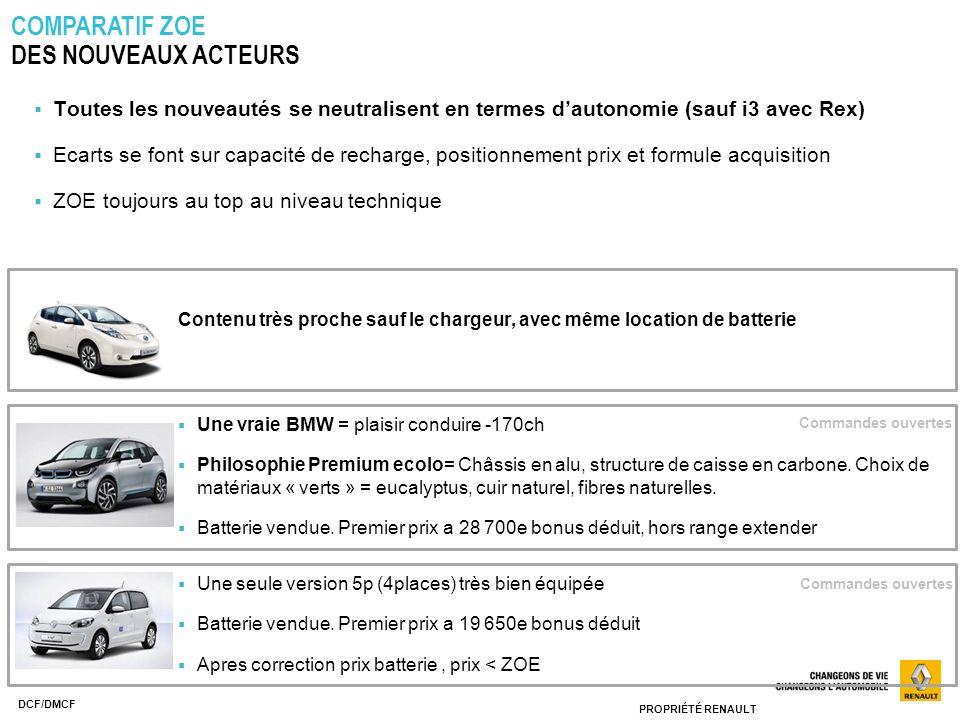PROPRIÉTÉ RENAULT DCF/DMCF COMPARATIF ZOE DES NOUVEAUX ACTEURS Une vraie BMW = plaisir conduire -170ch Philosophie Premium ecolo= Châssis en alu, stru