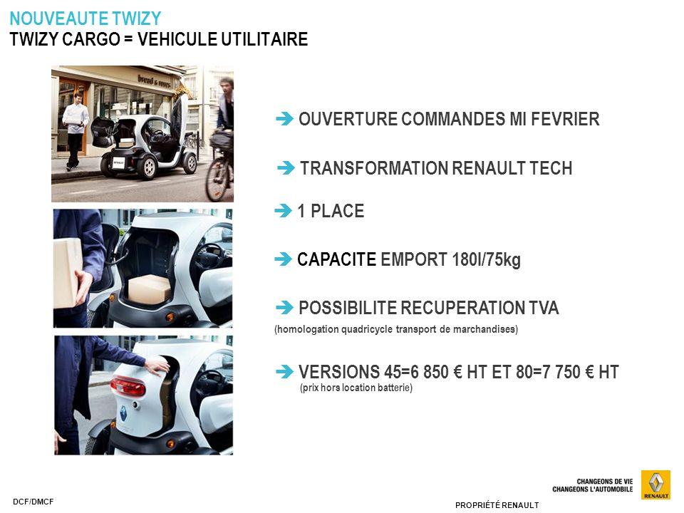 PROPRIÉTÉ RENAULT DCF/DMCF TRANSFORMATION RENAULT TECH 1 PLACE CAPACITE EMPORT 180l/75kg POSSIBILITE RECUPERATION TVA ( homologation quadricycle trans