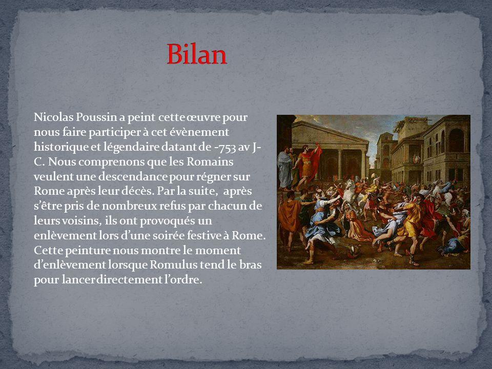 Nicolas Poussin a peint cette œuvre pour nous faire participer à cet évènement historique et légendaire datant de -753 av J- C. Nous comprenons que le