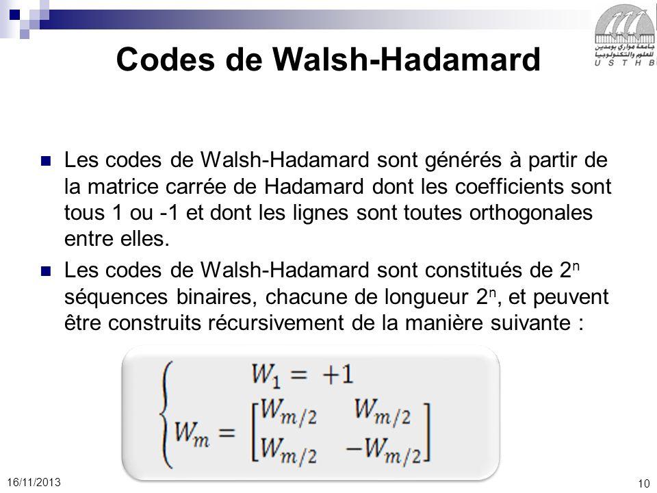 10 16/11/2013 Codes de Walsh-Hadamard Les codes de Walsh-Hadamard sont générés à partir de la matrice carrée de Hadamard dont les coefficients sont to