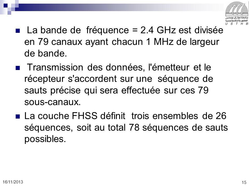15 16/11/2013 La bande de fréquence = 2.4 GHz est divisée en 79 canaux ayant chacun 1 MHz de largeur de bande. Transmission des données, l'émetteur et