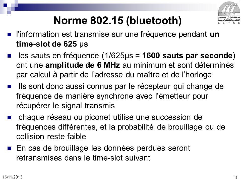 19 16/11/2013 l'information est transmise sur une fréquence pendant un time-slot de 625 μs les sauts en fréquence (1/625μs = 1600 sauts par seconde) o