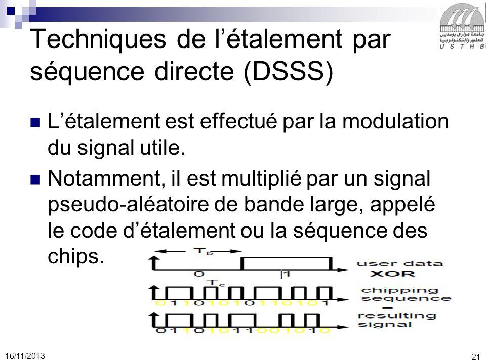 21 16/11/2013 Techniques de létalement par séquence directe (DSSS) Létalement est effectué par la modulation du signal utile. Notamment, il est multip