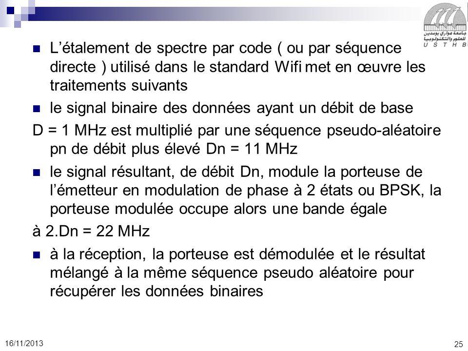 25 16/11/2013 Létalement de spectre par code ( ou par séquence directe ) utilisé dans le standard Wifi met en œuvre les traitements suivants le signal