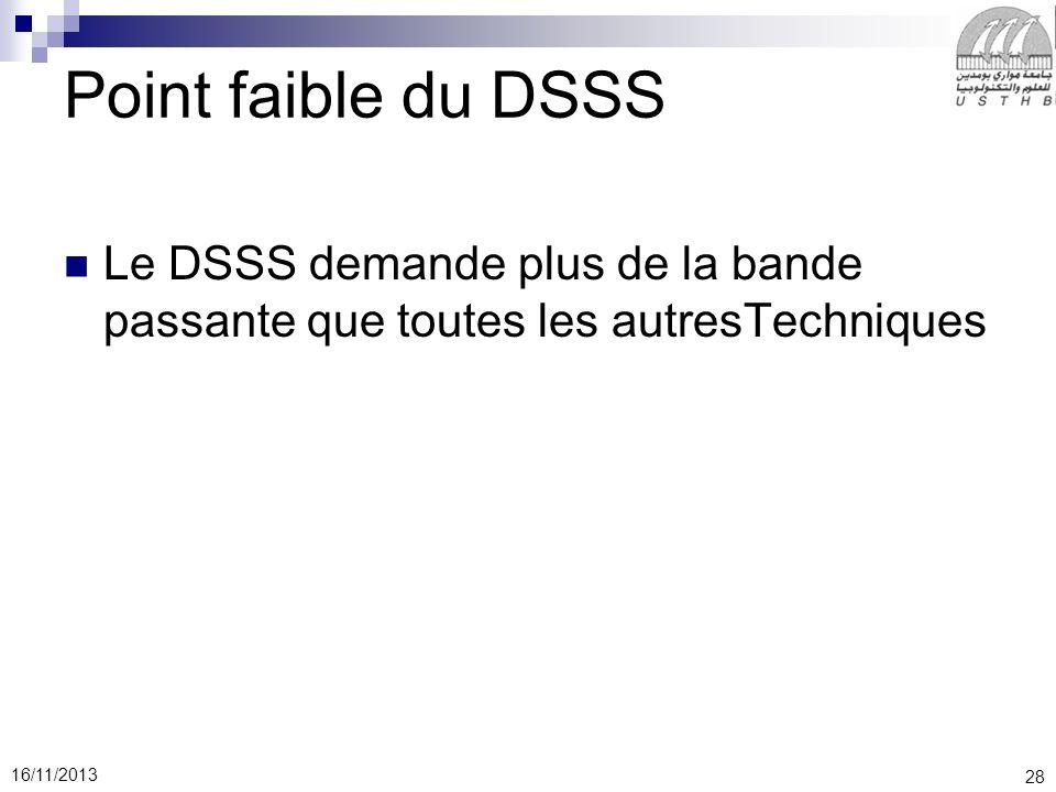 28 16/11/2013 Point faible du DSSS Le DSSS demande plus de la bande passante que toutes les autresTechniques
