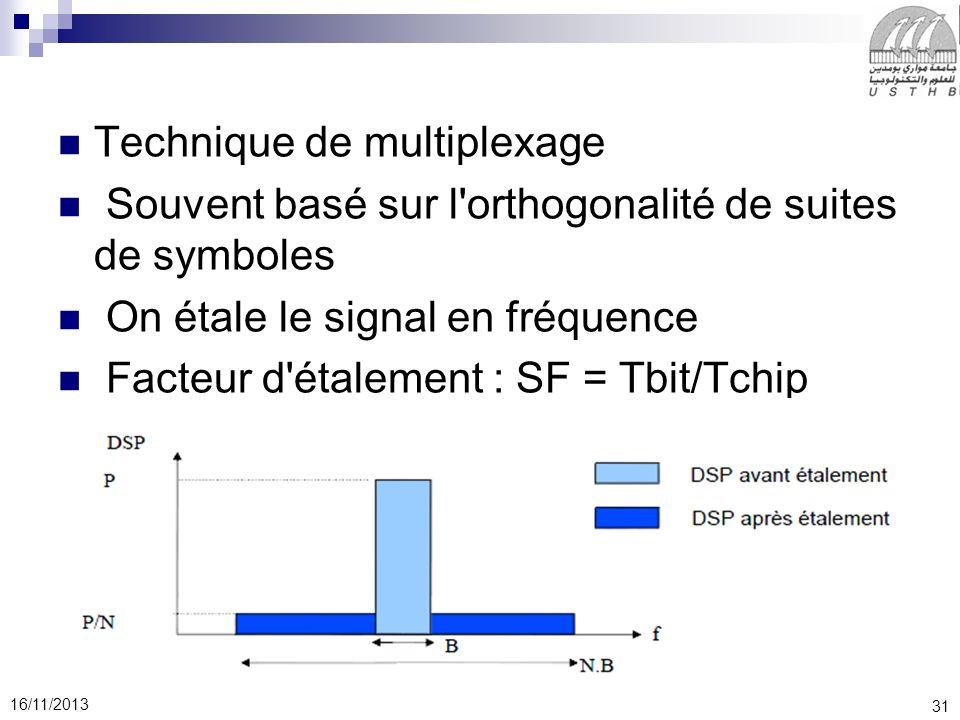 31 16/11/2013 Technique de multiplexage Souvent basé sur l'orthogonalité de suites de symboles On étale le signal en fréquence Facteur d'étalement : S