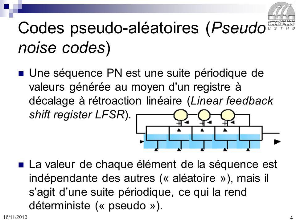 25 16/11/2013 Létalement de spectre par code ( ou par séquence directe ) utilisé dans le standard Wifi met en œuvre les traitements suivants le signal binaire des données ayant un débit de base D = 1 MHz est multiplié par une séquence pseudo-aléatoire pn de débit plus élevé Dn = 11 MHz le signal résultant, de débit Dn, module la porteuse de lémetteur en modulation de phase à 2 états ou BPSK, la porteuse modulée occupe alors une bande égale à 2.Dn = 22 MHz à la réception, la porteuse est démodulée et le résultat mélangé à la même séquence pseudo aléatoire pour récupérer les données binaires