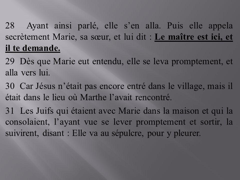 28 Ayant ainsi parlé, elle sen alla. Puis elle appela secrètement Marie, sa sœur, et lui dit : Le maître est ici, et il te demande. 29 Dès que Marie e