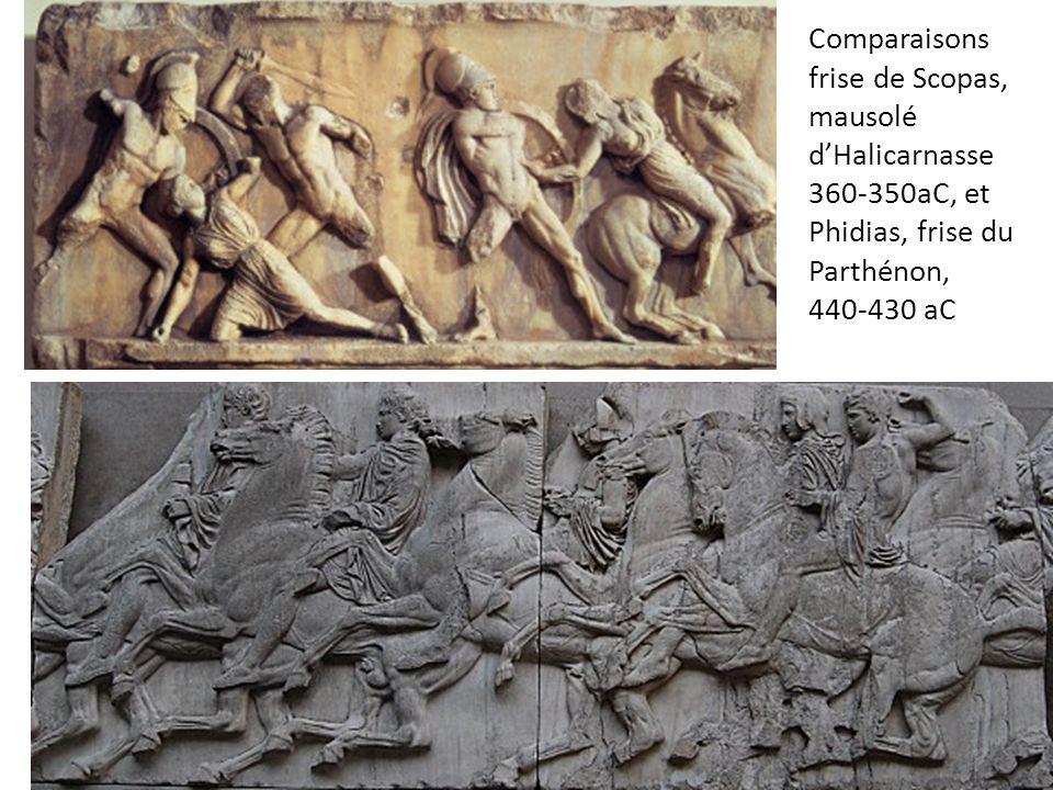 Comparaisons frise de Scopas, mausolé dHalicarnasse 360-350aC, et Phidias, frise du Parthénon, 440-430 aC