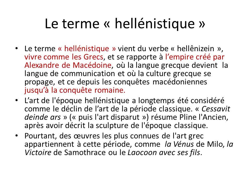 Le terme « hellénistique » Le terme « hellénistique » vient du verbe « hellênizein », vivre comme les Grecs, et se rapporte à lempire créé par Alexand