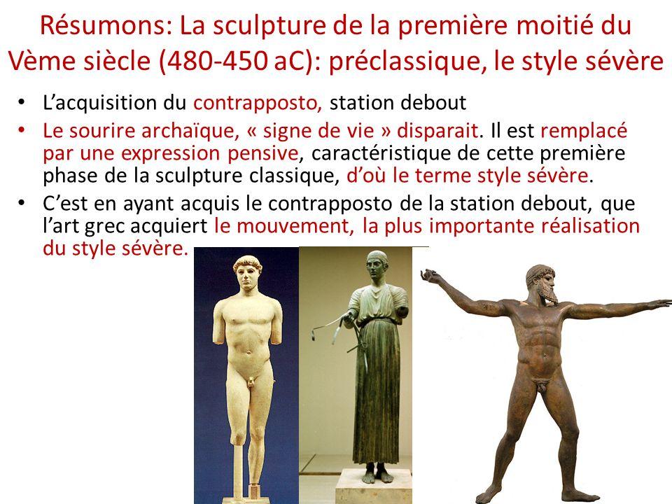 La sculpture préclassique de la première moitié du Vème siècle (480-450 aC): le style sévère Lacquisition du contrapposto, station debout Le sourire archaïque, « signe de vie » disparait.
