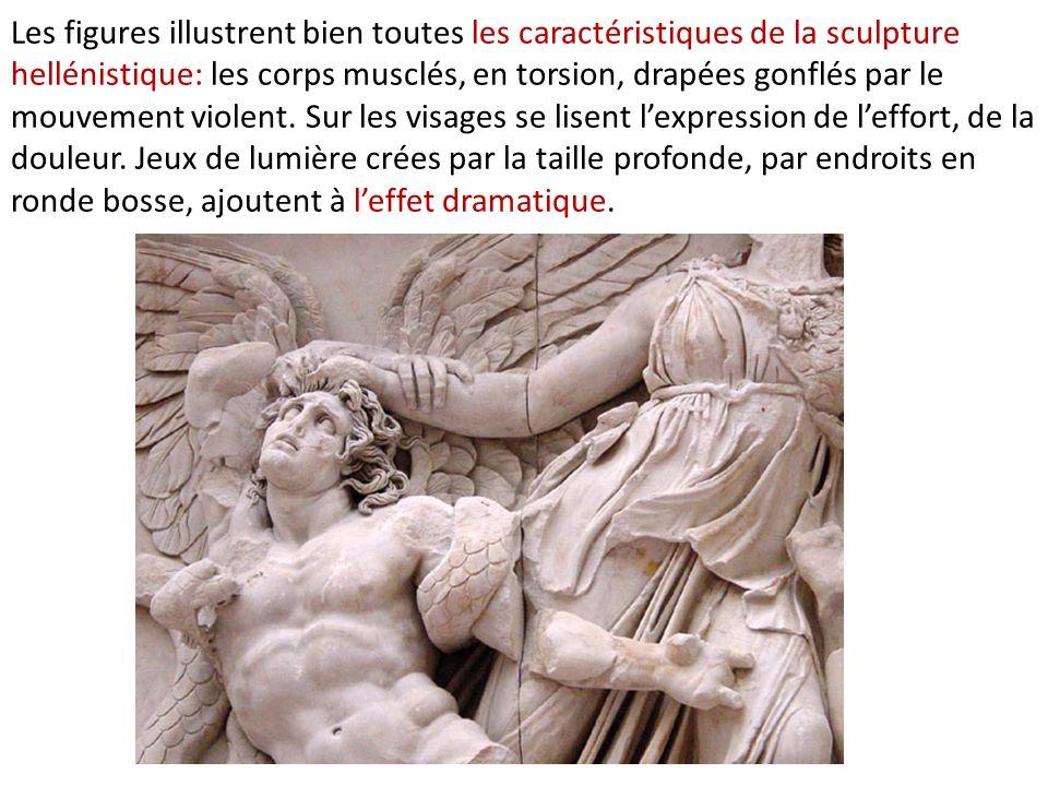 Les figures illustrent bien toutes les caractéristiques de la sculpture hellénistique: les corps musclés, en torsion, drapées gonflés par le mouvement