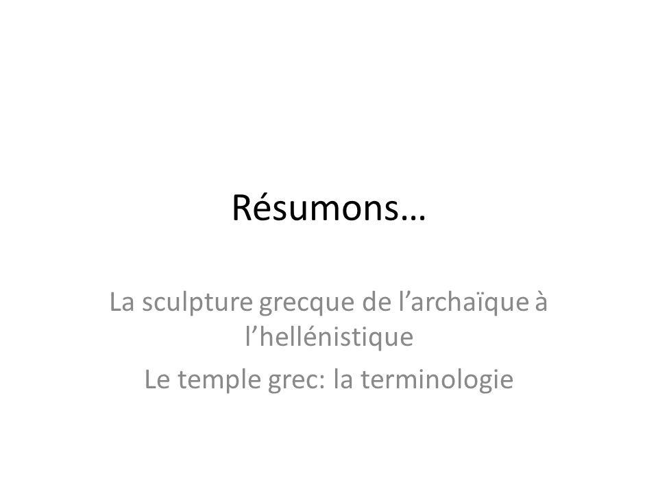 Résumons… La sculpture grecque de larchaïque à lhellénistique Le temple grec: la terminologie