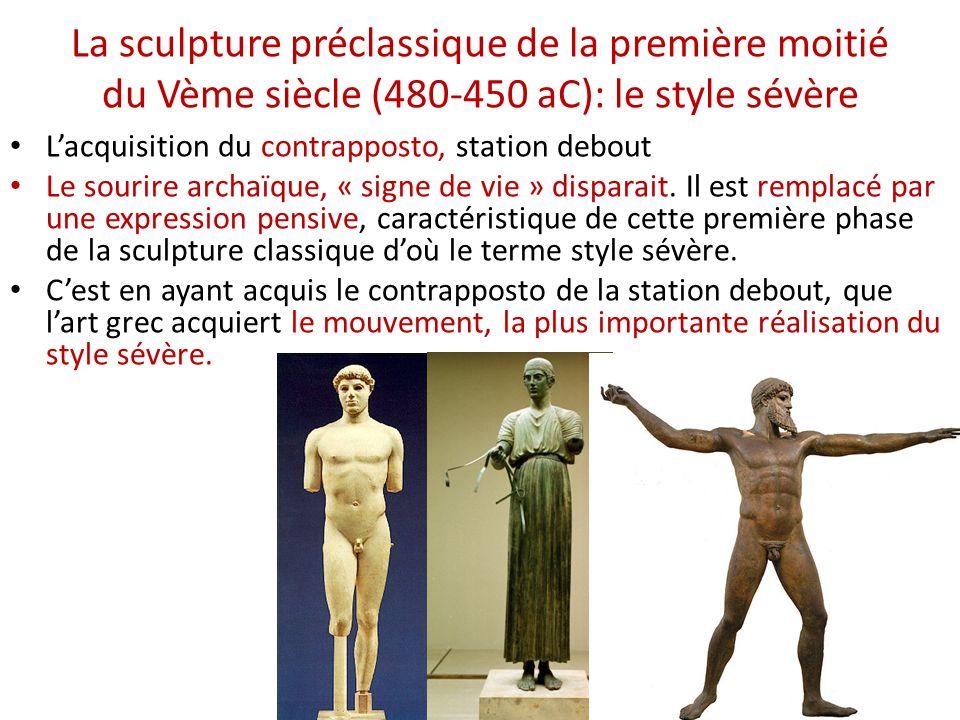 La sculpture préclassique de la première moitié du Vème siècle (480-450 aC): le style sévère Lacquisition du contrapposto, station debout Le sourire a