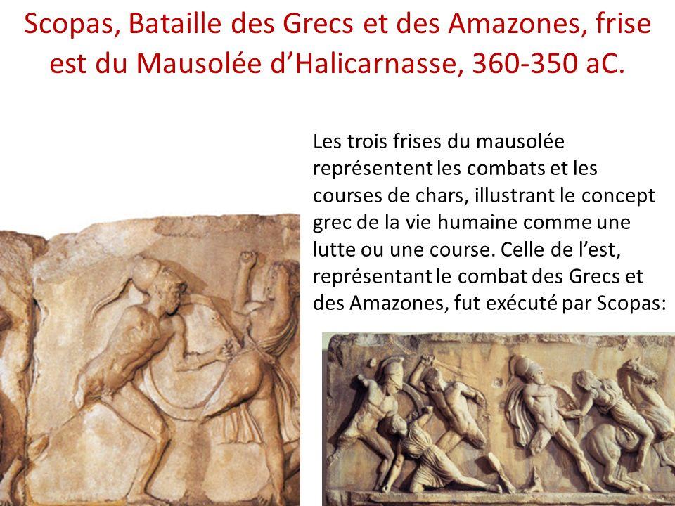Les trois frises du mausolée représentent les combats et les courses de chars, illustrant le concept grec de la vie humaine comme une lutte ou une cou