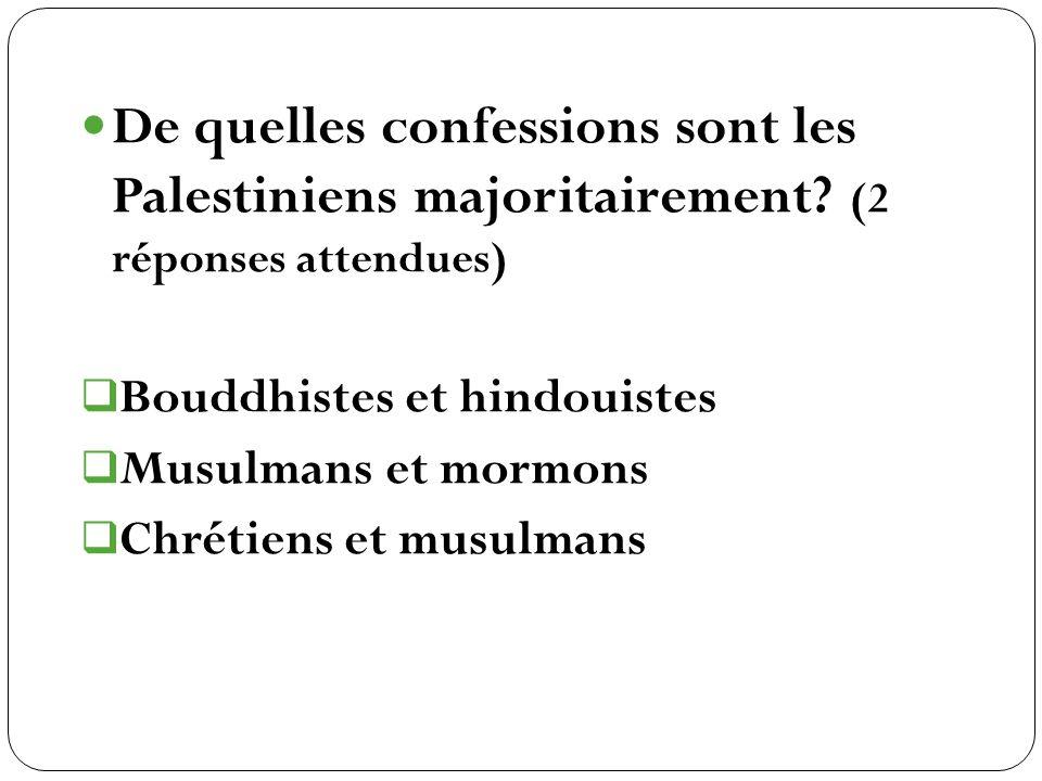 Bouddhistes et hindouistes Musulmans et mormons Chrétiens et musulmans