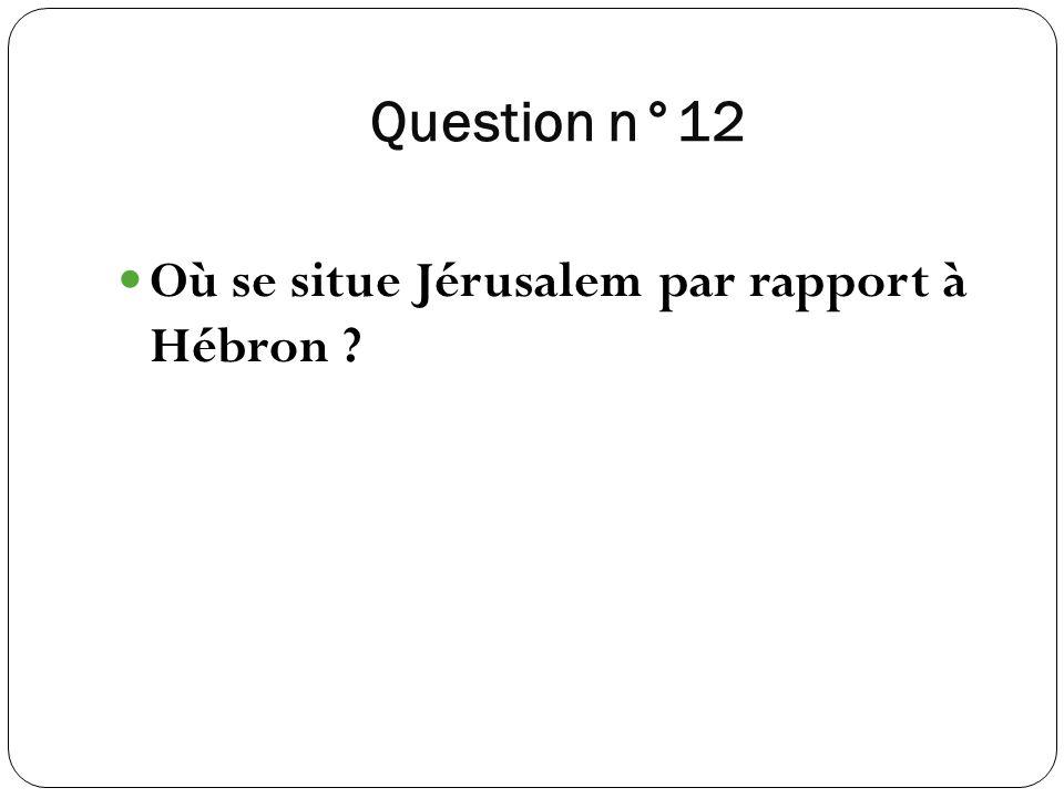 Question n°12 Où se situe Jérusalem par rapport à Hébron ?