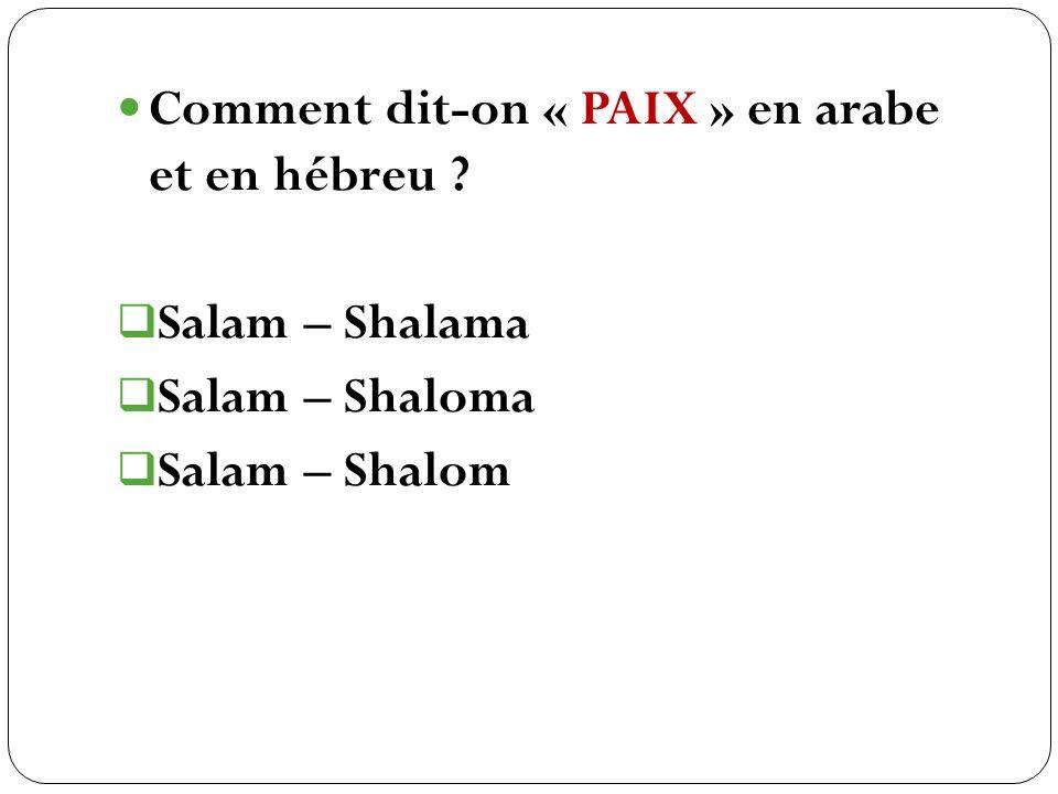 Salam – Shalama Salam – Shaloma Salam – Shalom