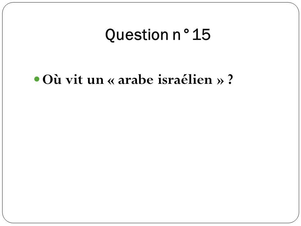 Question n°15 Où vit un « arabe israélien » ?
