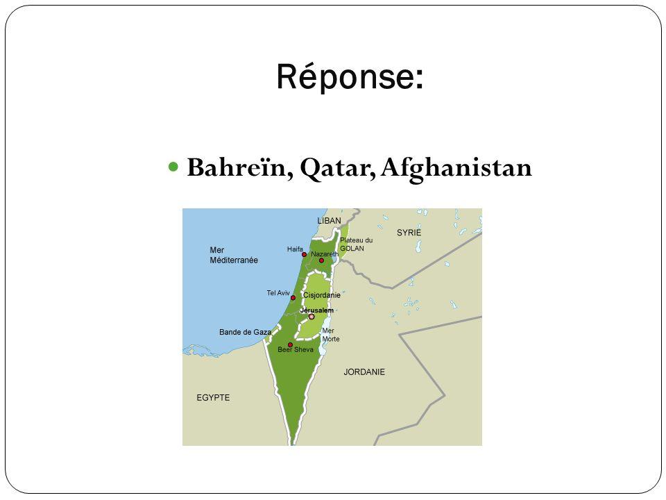 Réponse: Bahreïn, Qatar, Afghanistan