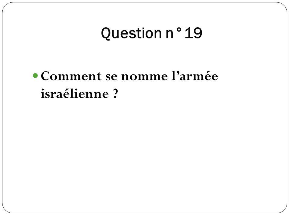 Question n°19 Comment se nomme larmée israélienne ?