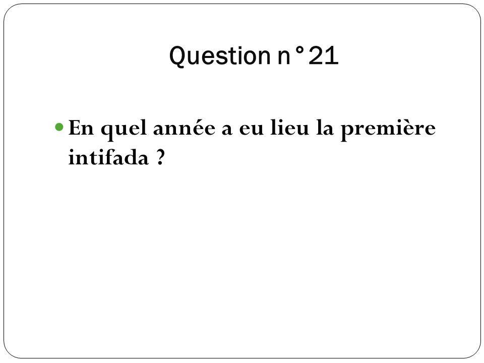 Question n°21 En quel année a eu lieu la première intifada ?