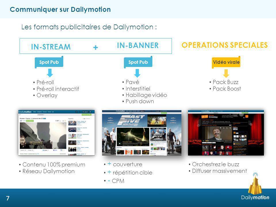 18 Dailymotion Studio Espace à destination de nos partenaires et clients pour réaliser leurs projets vidéo: Accompagnement par des professionnels de la vidéo Co-production Ouverture 2ème semestre 2013