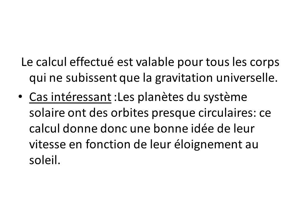 Le calcul effectué est valable pour tous les corps qui ne subissent que la gravitation universelle. Cas intéressant :Les planètes du système solaire o