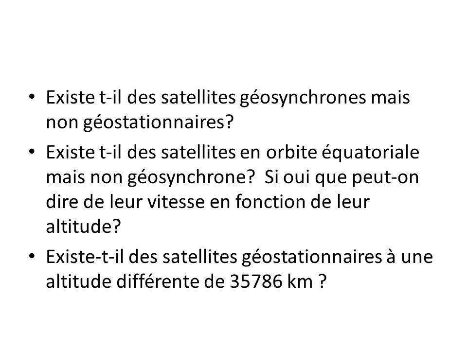 Existe t-il des satellites géosynchrones mais non géostationnaires? Existe t-il des satellites en orbite équatoriale mais non géosynchrone? Si oui que