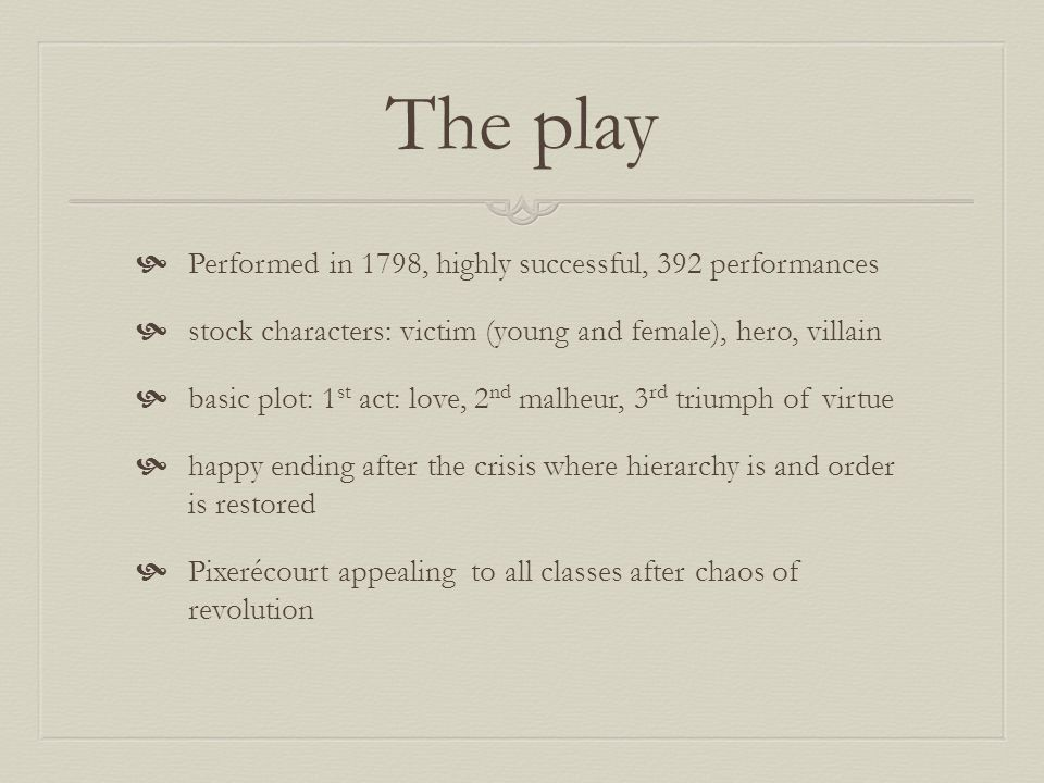 The play Performed in 1798, highly successful, 392 performances stock characters: victim (young and female), hero, villain basic plot: 1 st act: love,