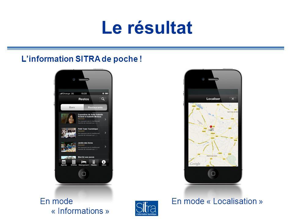 Le résultat Linformation SITRA de poche ! En mode « Localisation »En mode « Informations »
