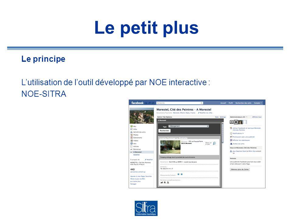 Le petit plus Le principe Lutilisation de loutil développé par NOE interactive : NOE-SITRA