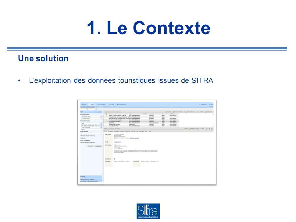 1. Le Contexte Une solution Lexploitation des données touristiques issues de SITRA