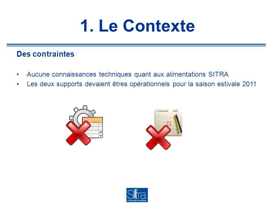 1. Le Contexte Des contraintes Aucune connaissances techniques quant aux alimentations SITRA Les deux supports devaient êtres opérationnels pour la sa