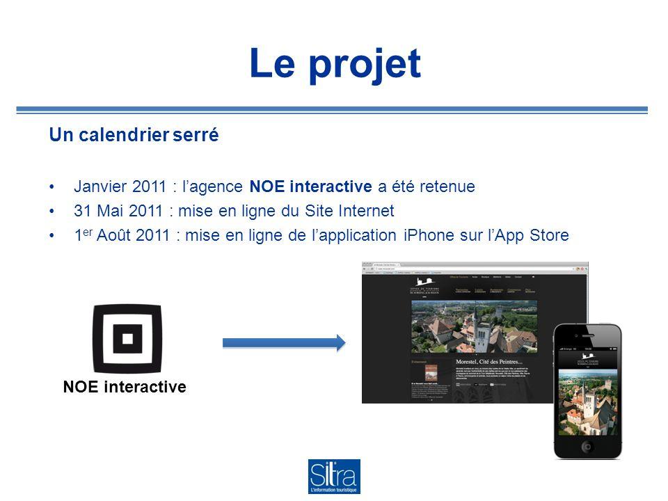 Le projet Un calendrier serré Janvier 2011 : lagence NOE interactive a été retenue 31 Mai 2011 : mise en ligne du Site Internet 1 er Août 2011 : mise